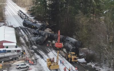 Crude oil train derailment and fire in northwest Washington state